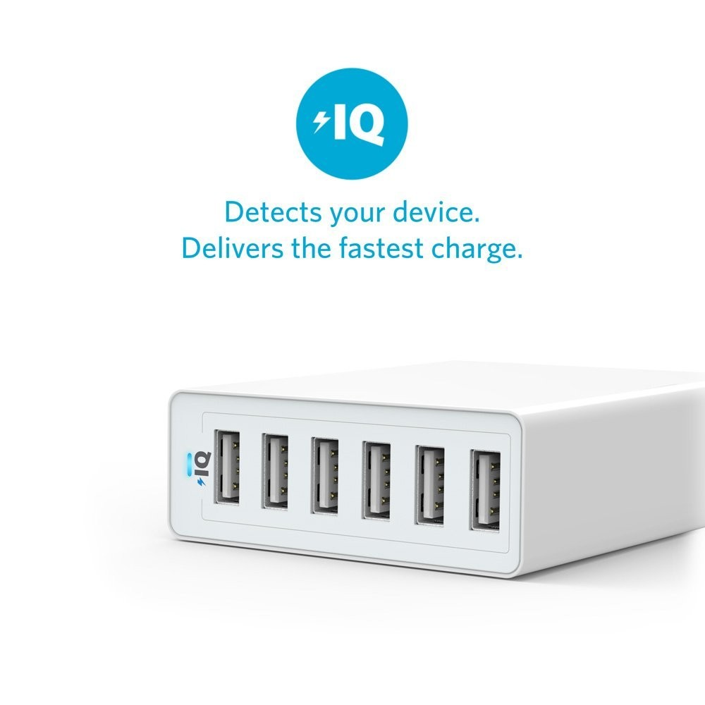 Anker PowerPort 6 60W 6-Port Family-Sized Desktop USB Charger with PowerIQ Technology for iPhone, iPad, Samsung, Nexus, HTC, Nokia, Motorola - White A2123T21, A2123T21
