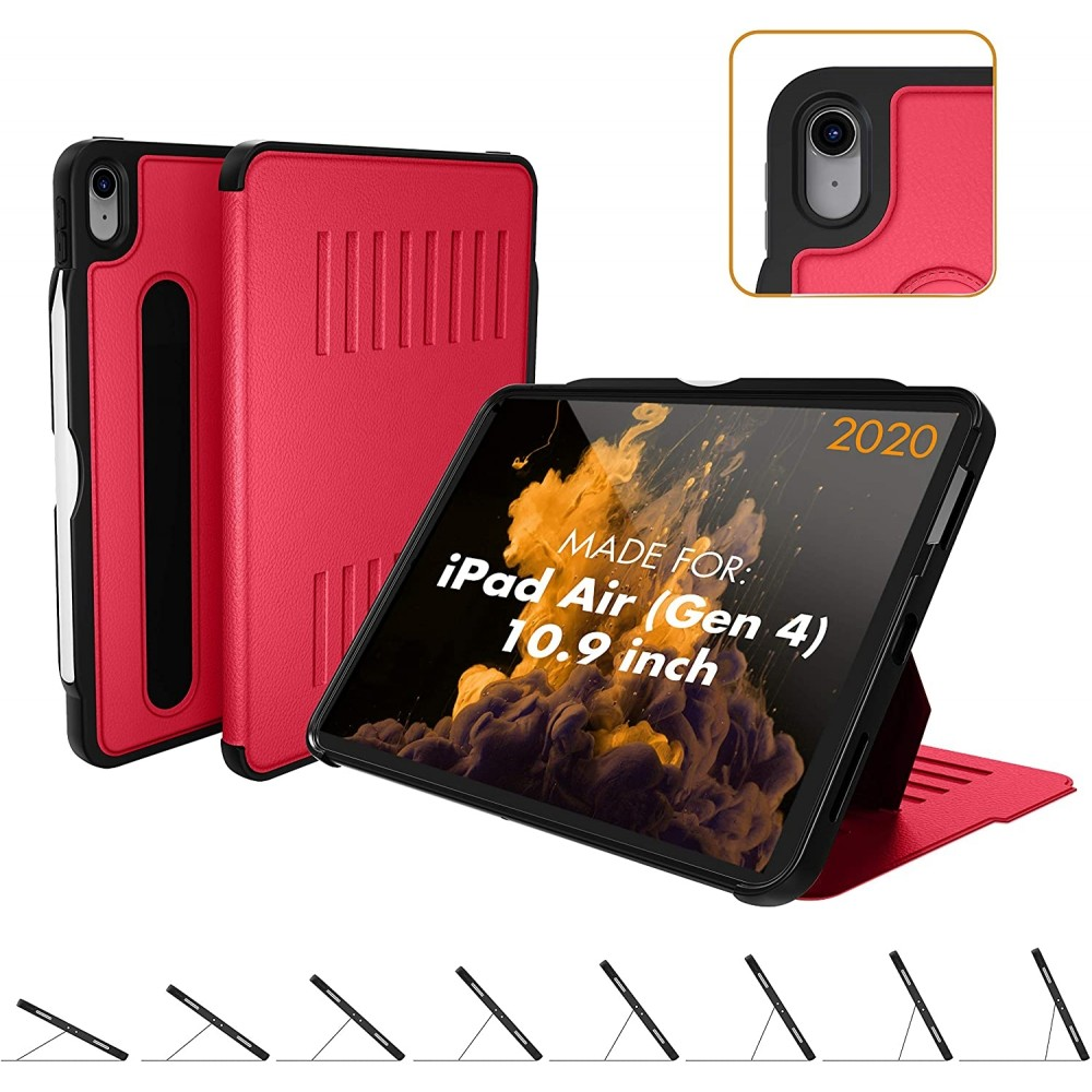 ZUGU CASE  The Alpha Case, Ultra Thin, Magnetic Stand, Sleep/Wake Cover for iPad Air Gen 4 - Red, B08P3PPM23