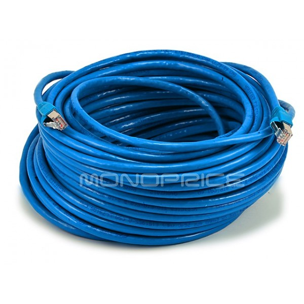 30m 24AWG Cat6A 500MHz STP Ethernet Bare Copper Network Cable - Blue, ETH-5907