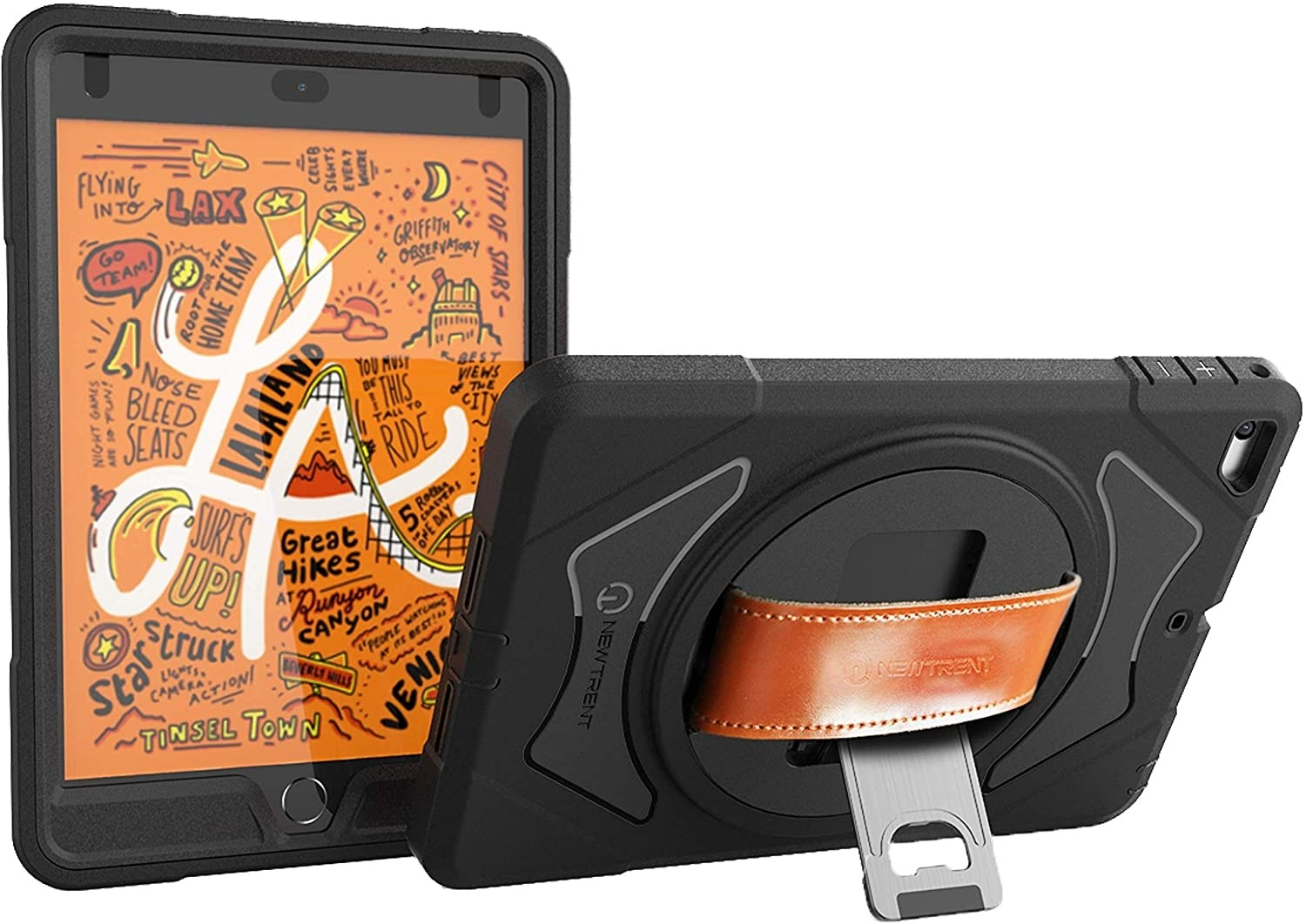 New Trent iPad Case for iPad Mini 4, iPad Mini 5 - iPad Case with 360 Degree Rotation & Leather Hand Strap & Built-in Stand, Rugged iPad Case with Screen Protector (not for Mini 1/2/3), NT621GR