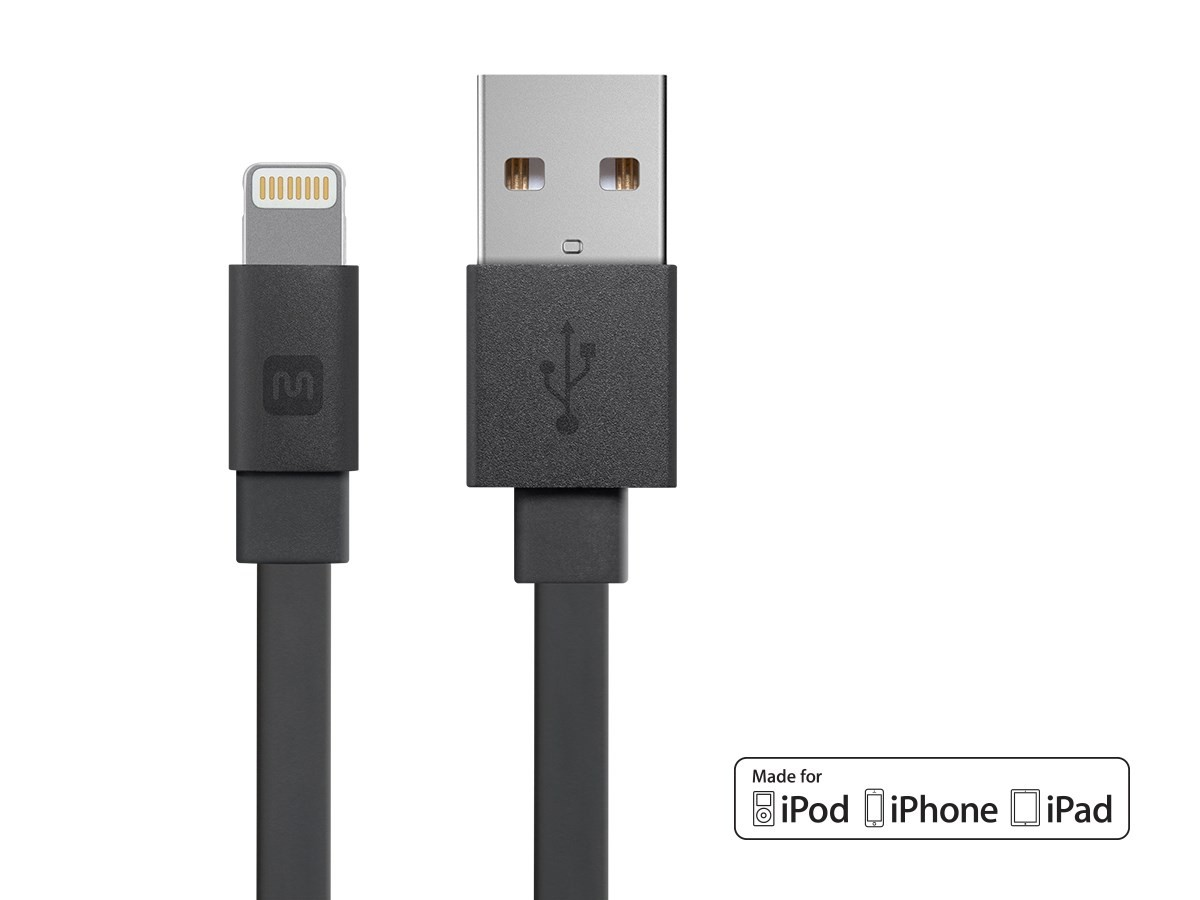 Monoprice Cabernet Series Apple® MFi Certified Flat Lightning™ to USB Charge & Sync Cable, 90 cm - Black, 12857