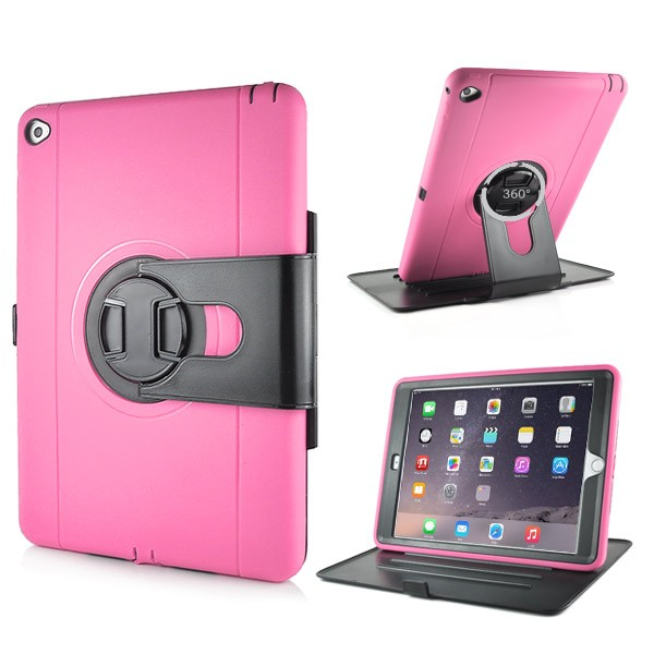 Shockproof 360 Degree Rotation Stand Case for iPad Air 2 - Pink, IPD6-RUG-67831