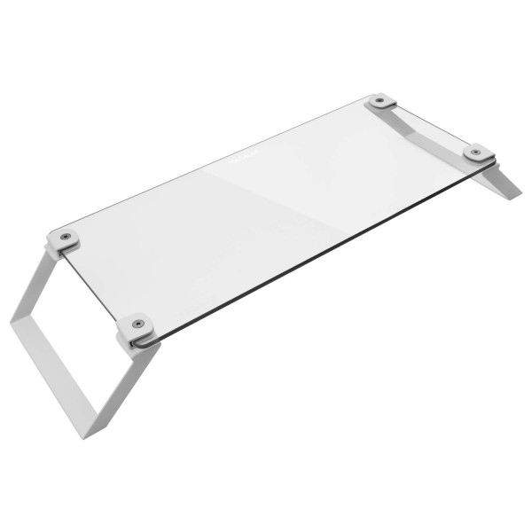 Macally Tempered Glass Stand Riser for Laptops and Desktop Monitors - Clear White, SPACESTANDW