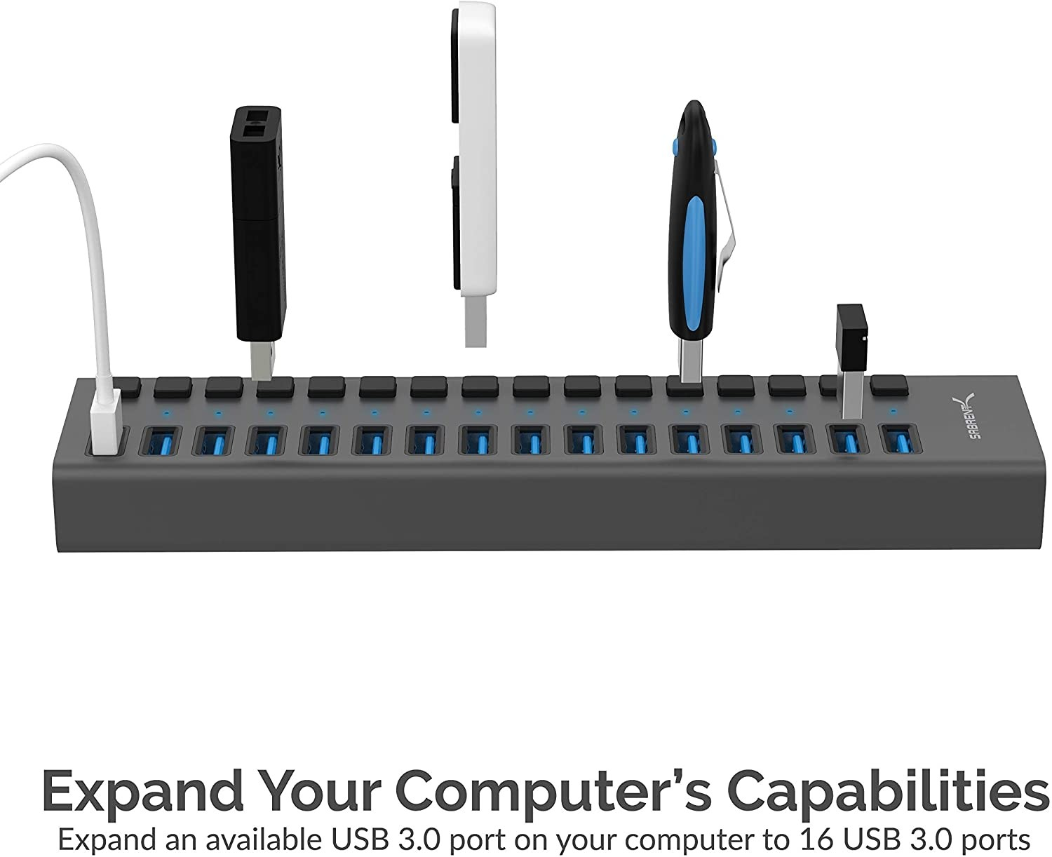 Sabrent USB 3.0 16-Port Aluminum HUB with Power Switches and LEDs, HB-PU16