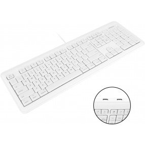 Macally Full Size USB Keyboard with 2 USB Ports for Mac - White