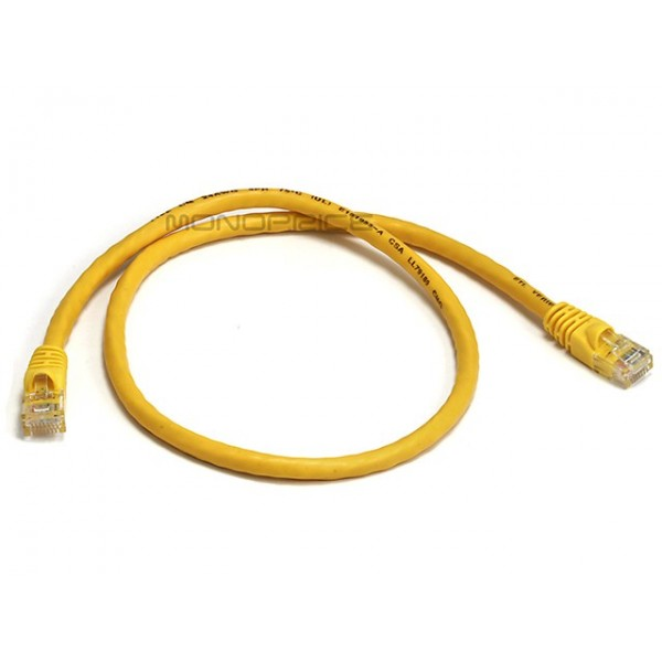 Monoprice 2FT 24AWG Cat6 550MHz UTP Ethernet Bare Copper Network Cable - Yellow - 70cm, ETH-3425