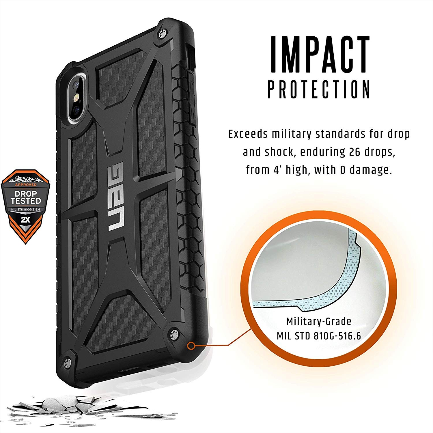 Urban Armor Gear iPhone Xs Max Monarch Feather-Light Rugged Military Drop Tested iPhone Case - Carbon Fiber, 111101114242