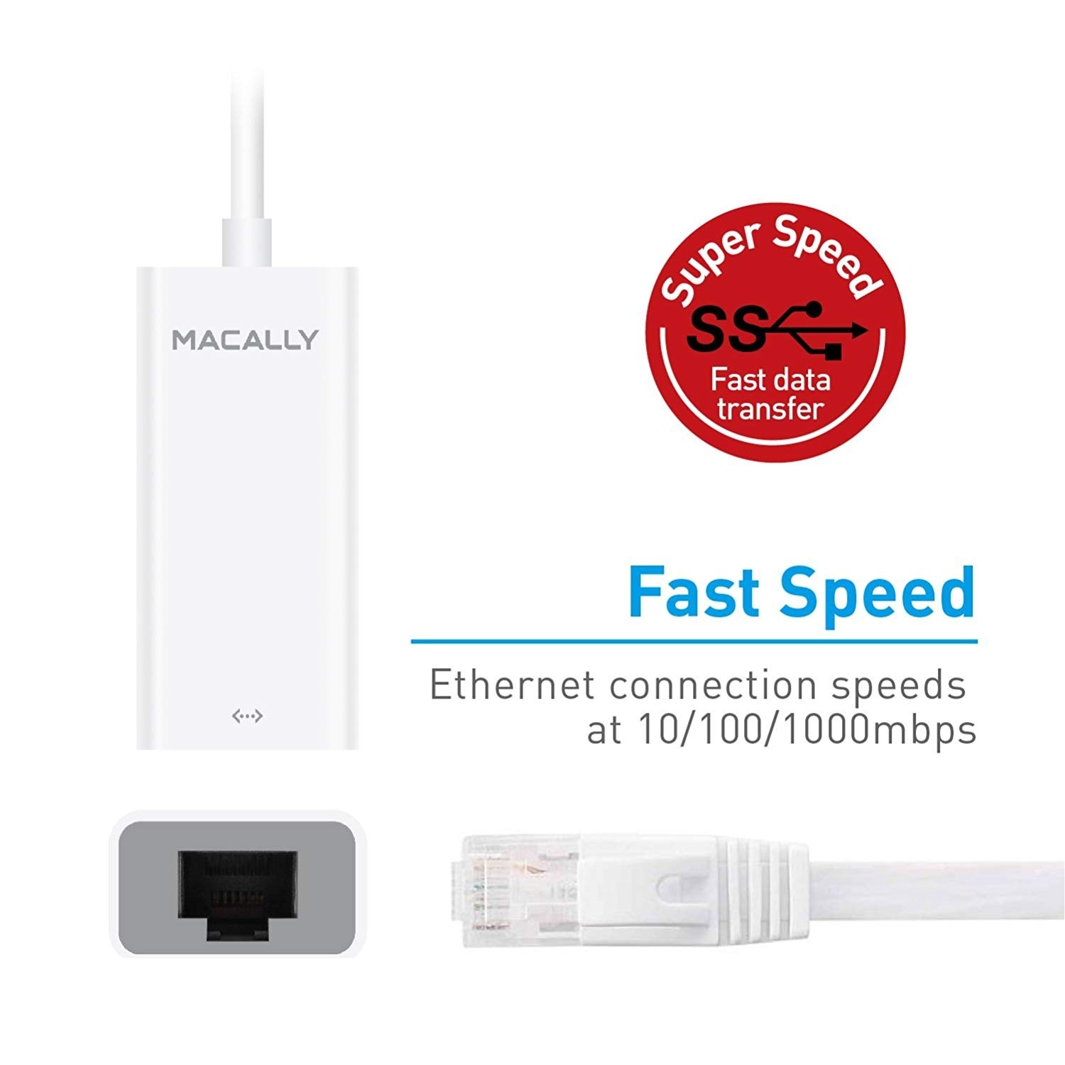 **DISCONTINUED** Macally USB-C to Gigabit Ethernet Adapter - White, MACUCGB