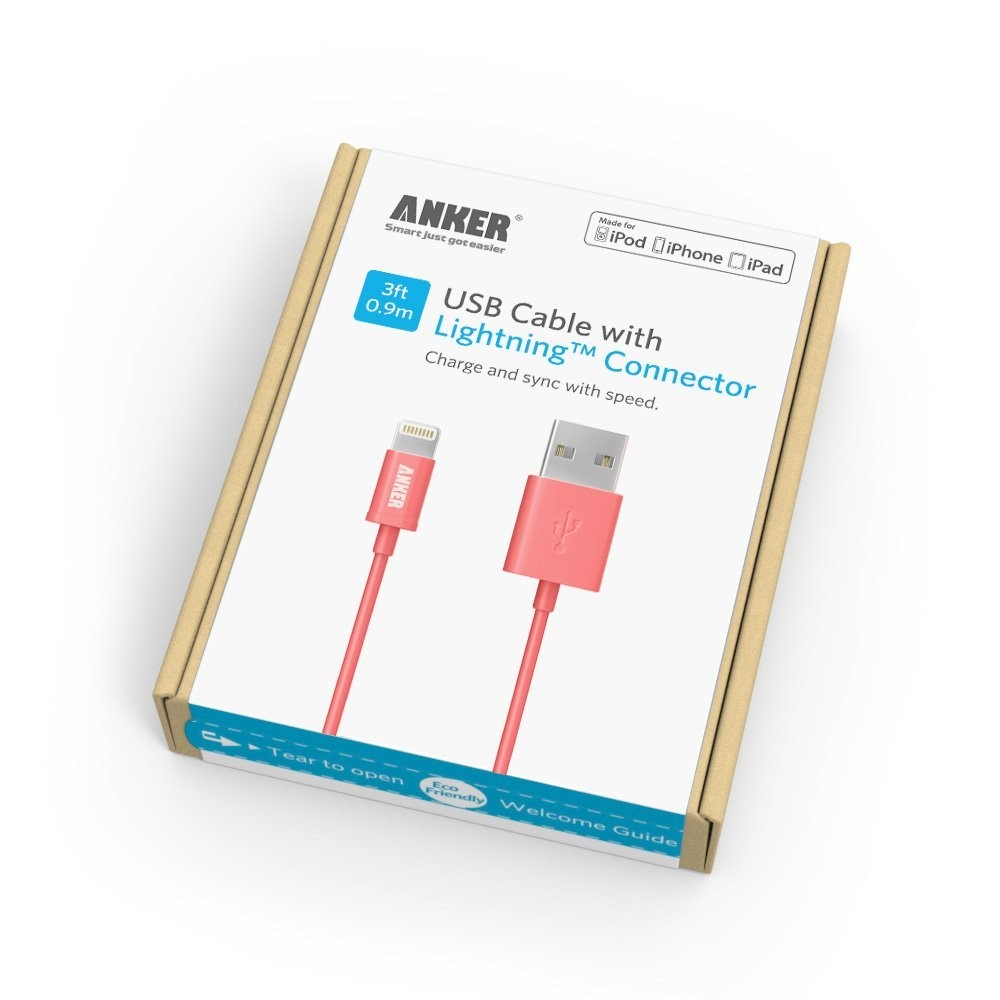 Apple MFi Certified Anker Lightning to USB Cable 3ft / 0.9m with Ultra Compact Connector Head for iPhone, iPod and iPad (Pink), B00NFAA6PG
