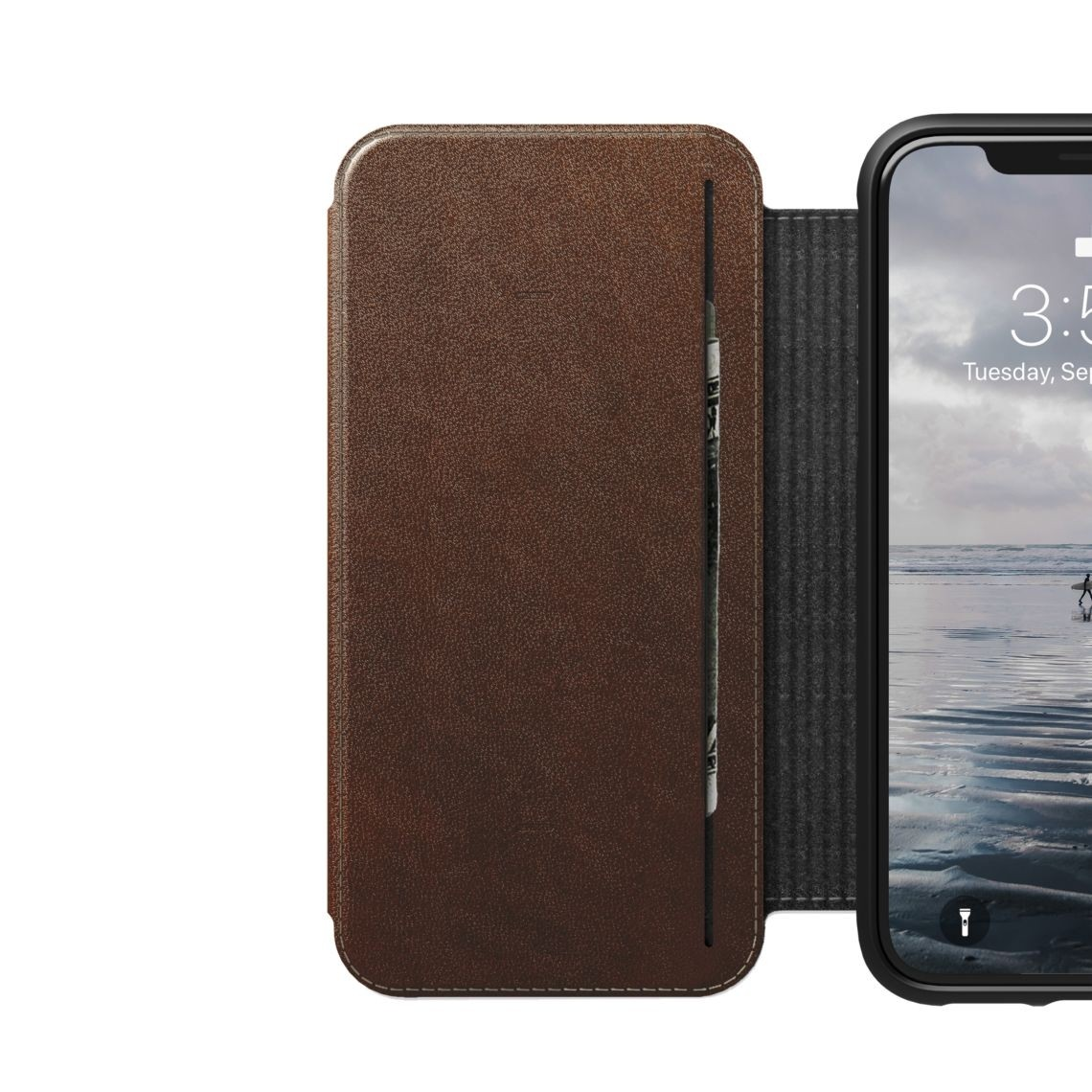 Nomad Horween Leather Rugged Tri-Folio for iPhone XS / X- Rustic Brown, NM21FR0H50