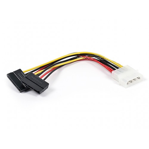 6inch SATA Serial ATA Splitter Power Cable(1 X 5.25 to Two (2) 15pin SATA Power Connector)
