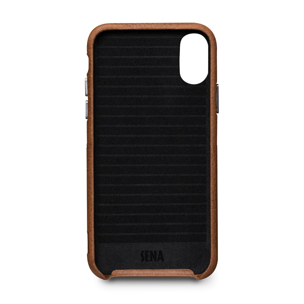 Sena Bence Snap-on Leather Wallet case for iPhone X/Xs - Brown, SFD32006GBUS-50