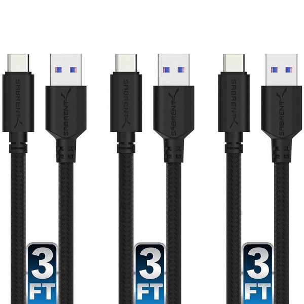 Sabrent 22AWG Premium 3ft USB-C to USB A 3.0 Sync & Charge Cables, 3-Pack - Black, CB-C3X3