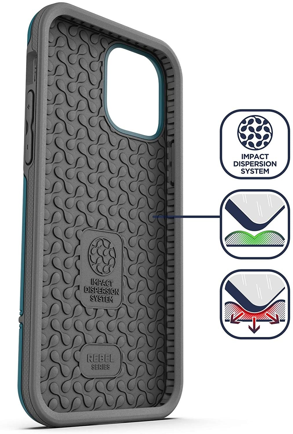 Encased Protective Rebel Series Heavy Duty Case for iPhone 12 Pro Max - Blue, RB129AB