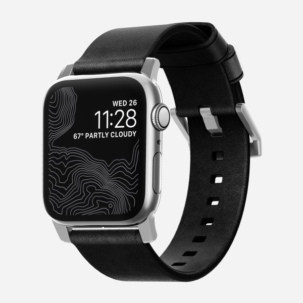 Nomad - Modern Strap for Apple Watch 40mm, Black leather, Silver Hardware - Designed for Apple Watch Series 4, NM1A31TM00