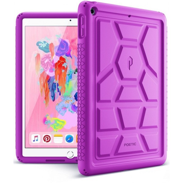 Poetic TurtleSkin Cover Case With Heavy Duty Protection Silicone and Sound-Amplification feature for iPad 9.7 Inch 2017/2018 - Purple, B01N7WTAF3