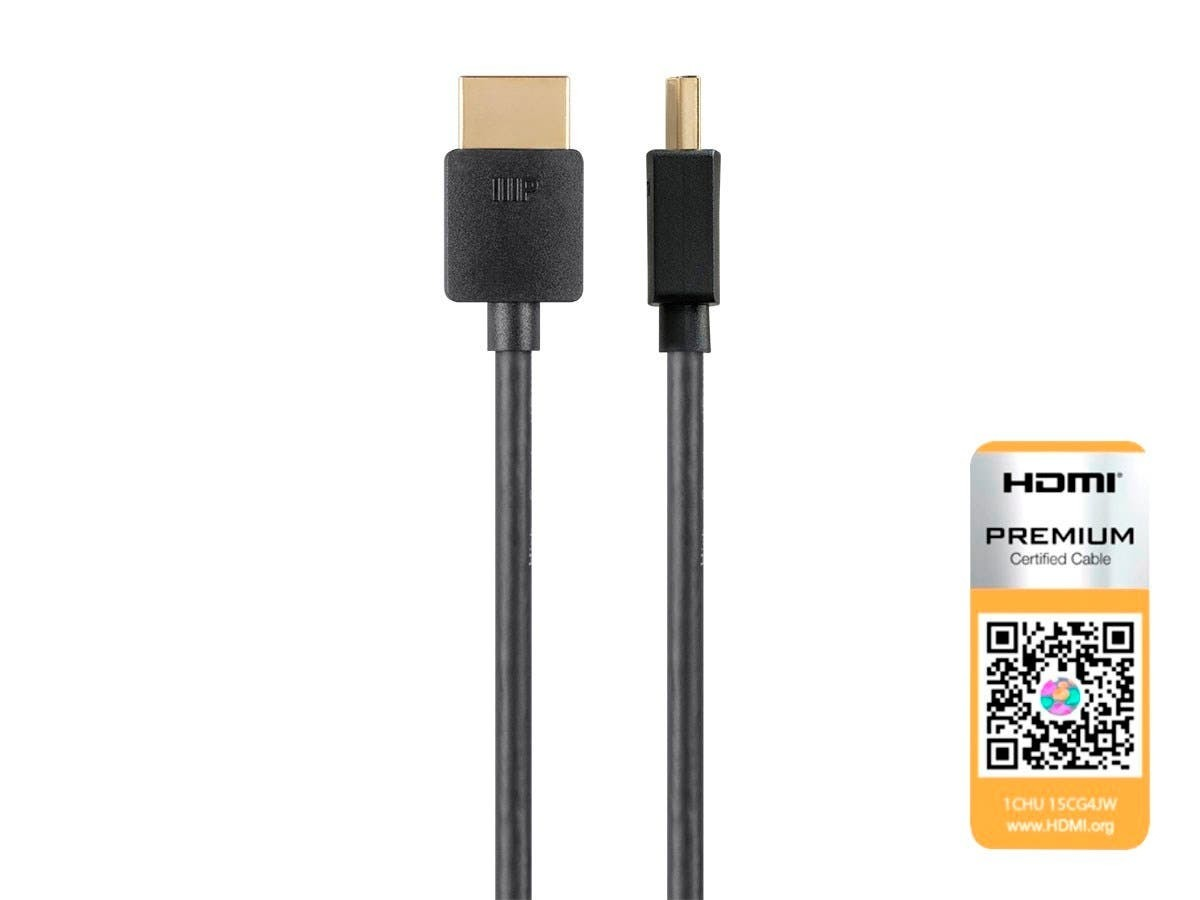 Monoprice Ultra Slim Certified Premium High Speed HDMI Cable, 4K@60Hz, HDR, 18Gbps, 36AWG, YCbCr 4:4:4, 0.9 m - Black, 24184