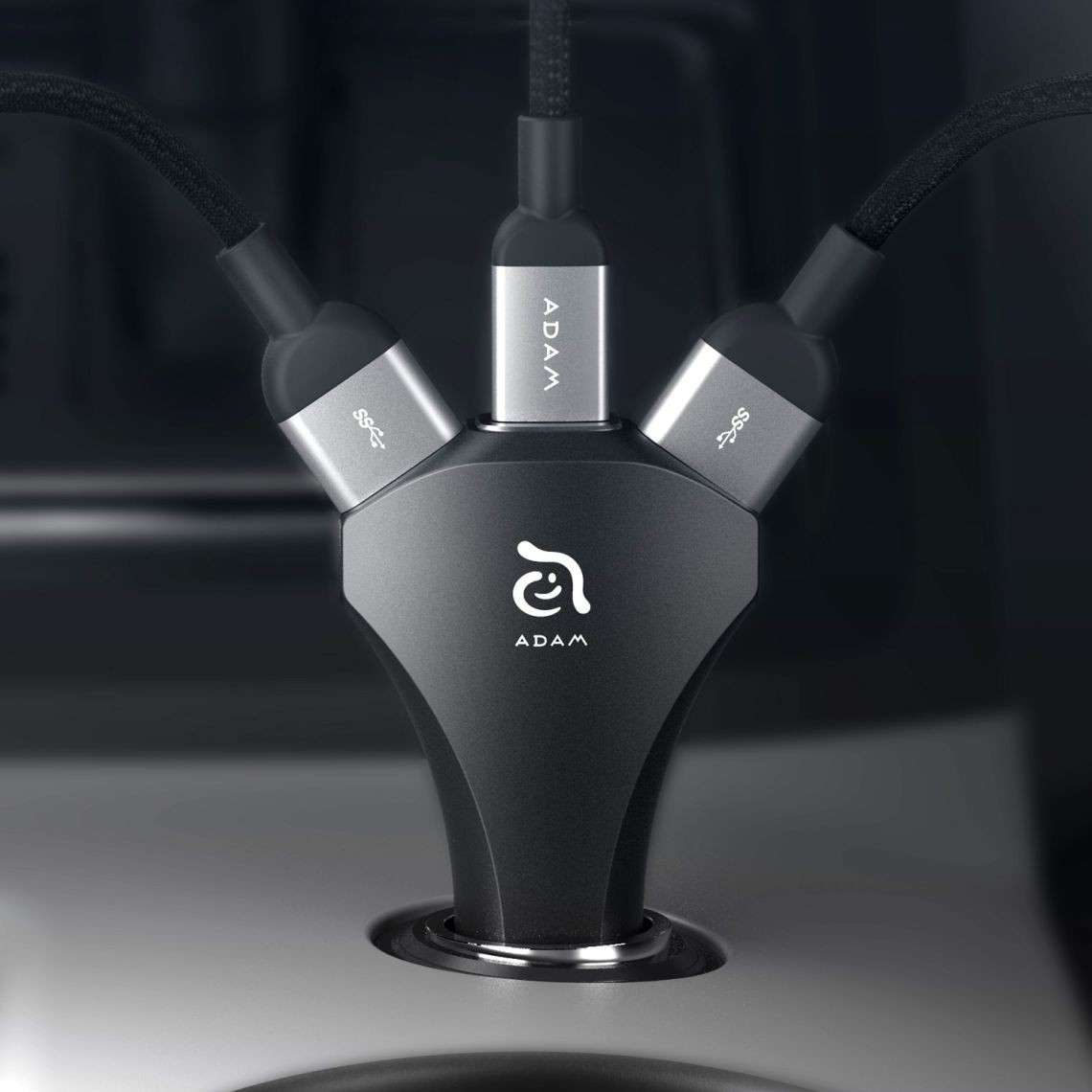 Adam Elements CASA CO3 dual USB and USB Type-C car charger - Black, ACCADCO3BK