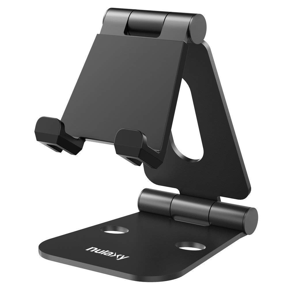 "Nulaxy Tablet Stand, Adjustable Phone Holder Stand, Aluminum Tablet Holder Compatible with Smartphones/Tablets/Switch 4-12"" - Black, B01LXP8Q29"