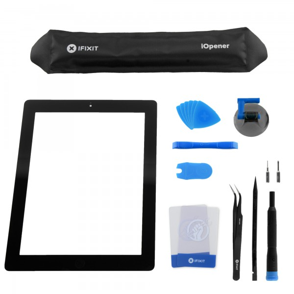 iPad 3 Front Glass/Digitizer Touch Panel Full Assembly, Fix Kit, New - Black, IF116-018-8