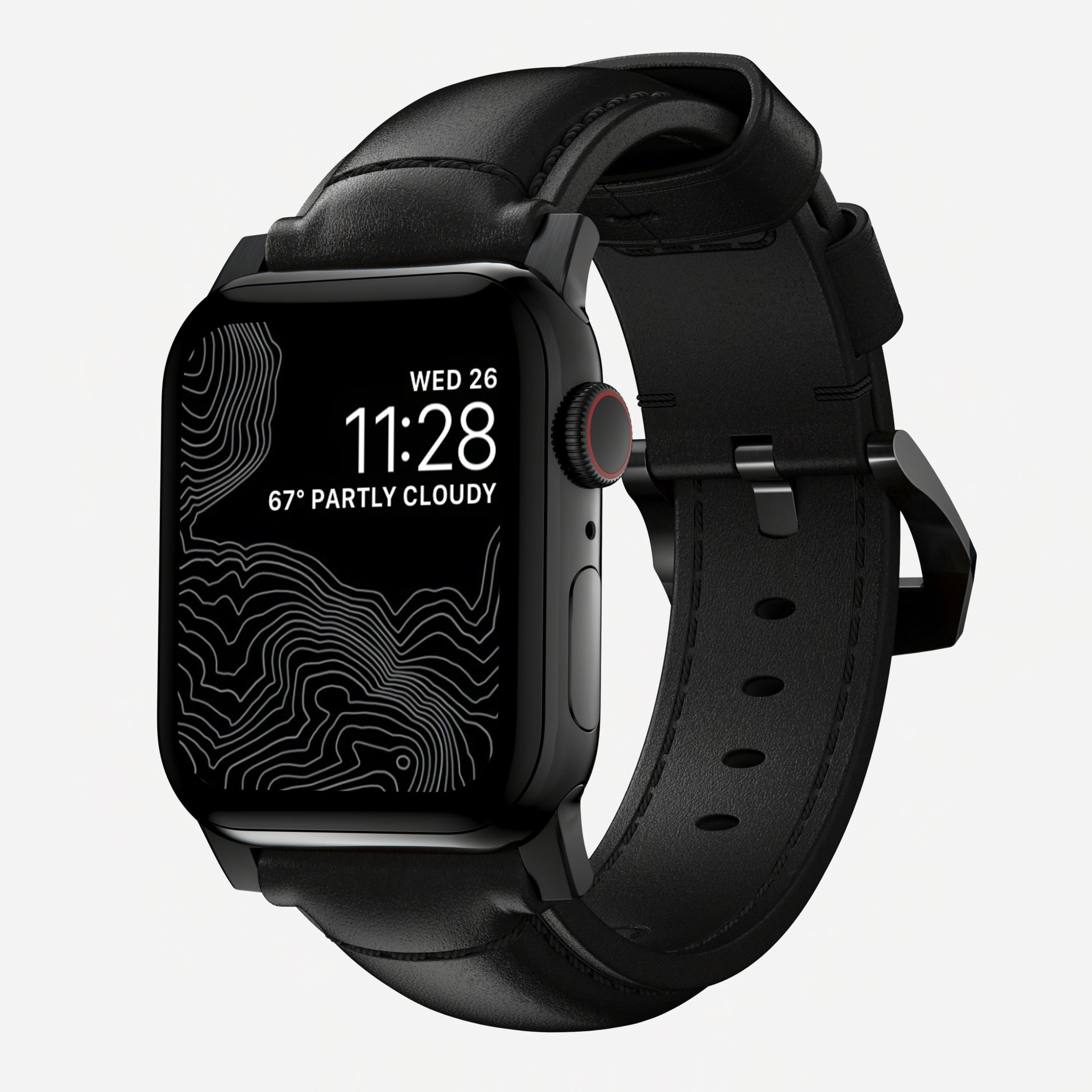 Nomad - Traditional Strap for Apple Watch 42/44mm - Black Leather Black Hardware, NM1A41BT00