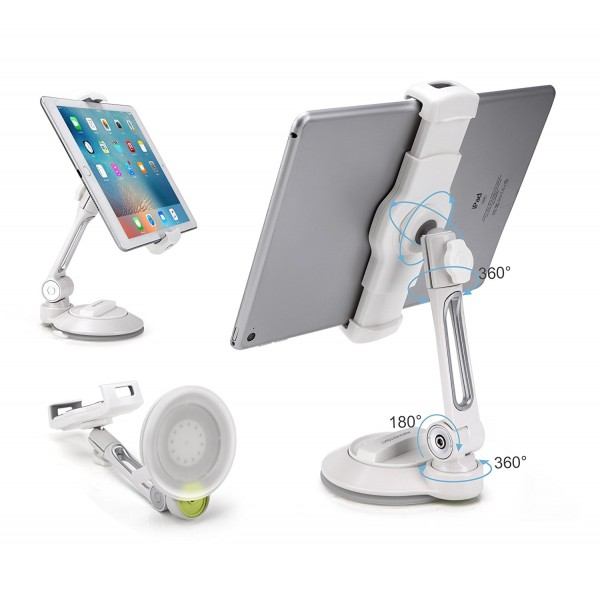 "AboveTEK iPad Suction Cup Holder Tablet Stand, Large Sticky Pad Phone Holder on Smooth Surface Desk Countertop Mirror Window, Swivel Cell Phone Car Holder Tablet Mount 4-11"" - White, B074PDGPMY"