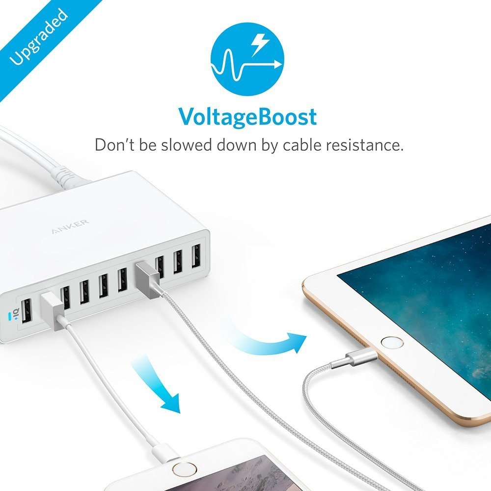 Anker PowerPort 10 (60W 10-Port USB Charging Hub) for iPhone 6s / 6 / 6 Plus, iPad Air 2 / mini 3, Galaxy S6 / S6 Edge / Edge+, Note 5 and More - WHITE, A2133121