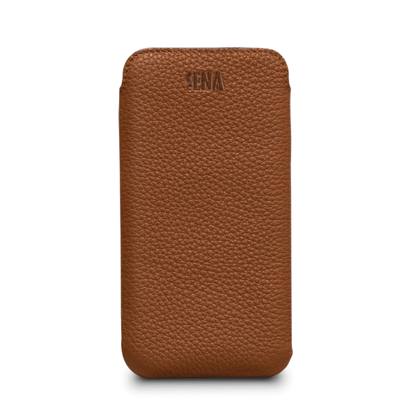 Sena Ultraslim Classic Leather Sleeve Pouch for iPhone XR - Tan, SFD39206NPUS