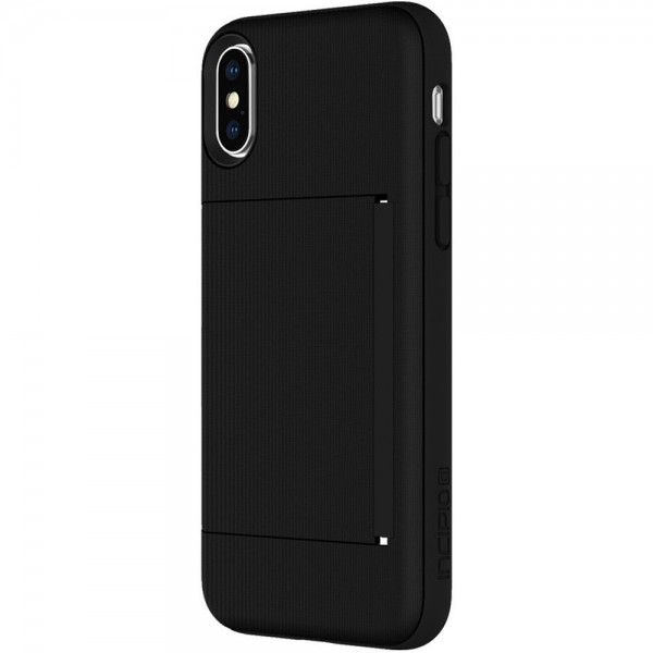Incipio Stowaway Credit Card Case With Integrated Stand for iPhone X - Black, IPH-1649-BLK