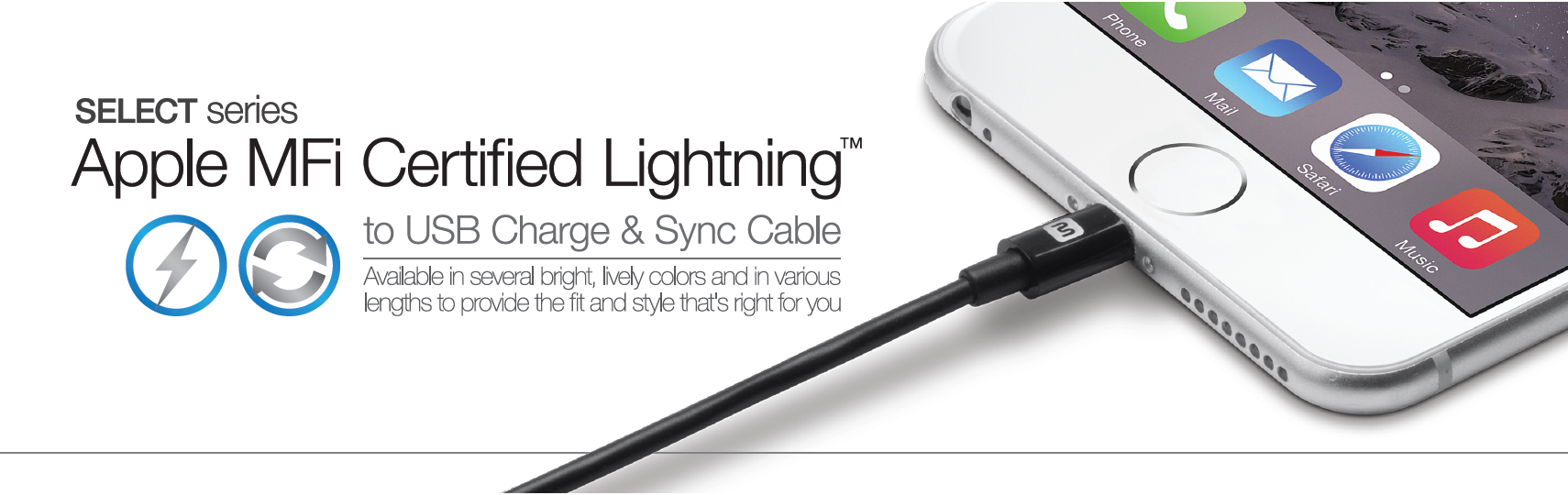 Select Series Apple MFi Certified Lightning to USB Charge & Sync Cable 3ft Black, LIGHT-12843