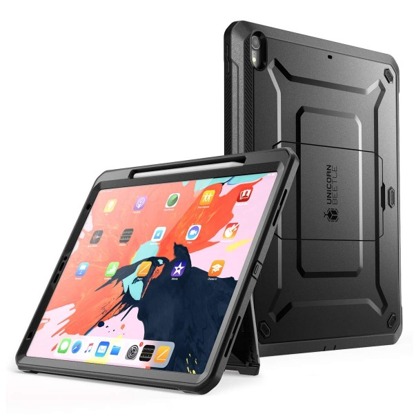 "SupCase UB Pro Series Case for iPad Pro 12.9"" (2018), Support Apple Pencil Charging with Built-in Screen Protector - Black, B07MKCKBLL"