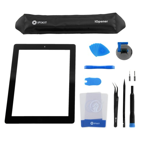 iPad 2 Front Glass/Digitizer Touch Panel Full Assembly, Fix Kit, New - Black