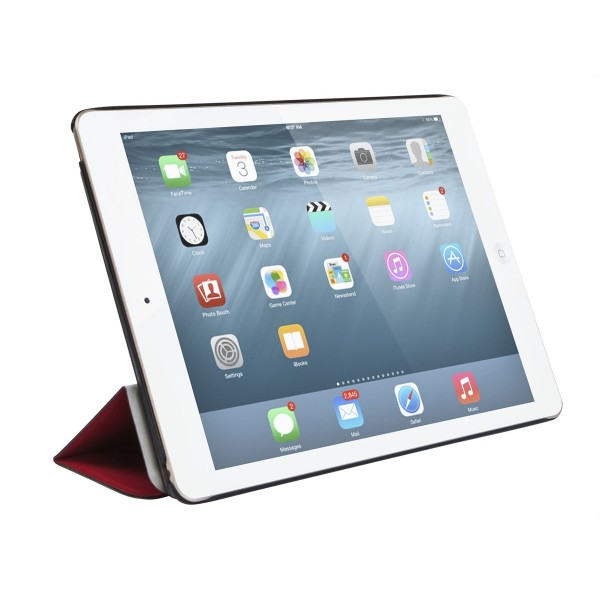 Monoprice Synthetic Leather Stand/Cover with Magnetic Latch for iPad Air 2 - Red, IPD6-12440