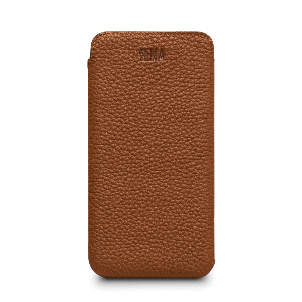 Sena Ultraslim Classic Leather Sleeve Pouch for iPhone X / XS - Tan, SFD39106NPUS