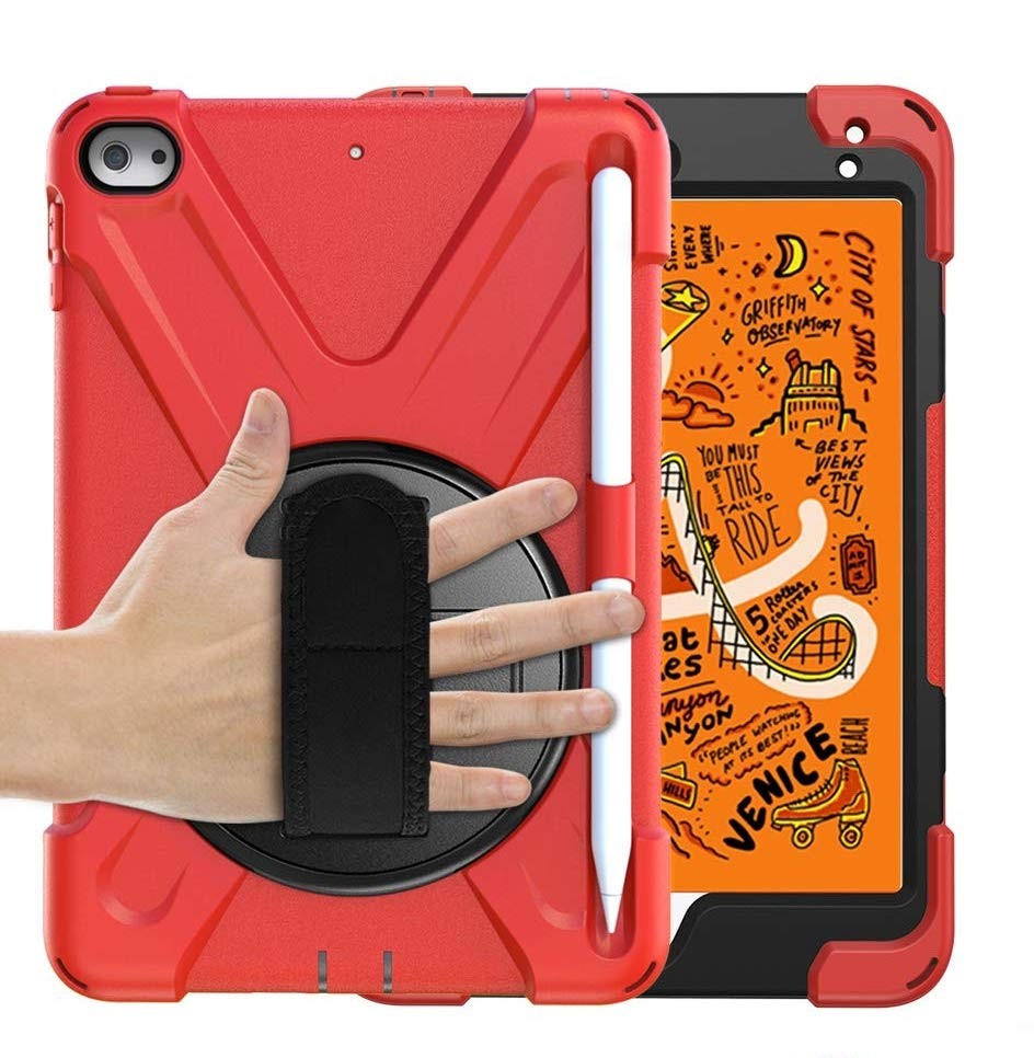 Breacn iPad Mini 5 Case,iPad Mini 4 Case, Heavy Duty Shockproof Protective Rugged Case with Pencil Holder, Hand Strap, Kickstand, Shoulder Strap for iPad Mini 5th/4th Generation 7.9 Inch for Kids - Red, B07RBTYWLQ