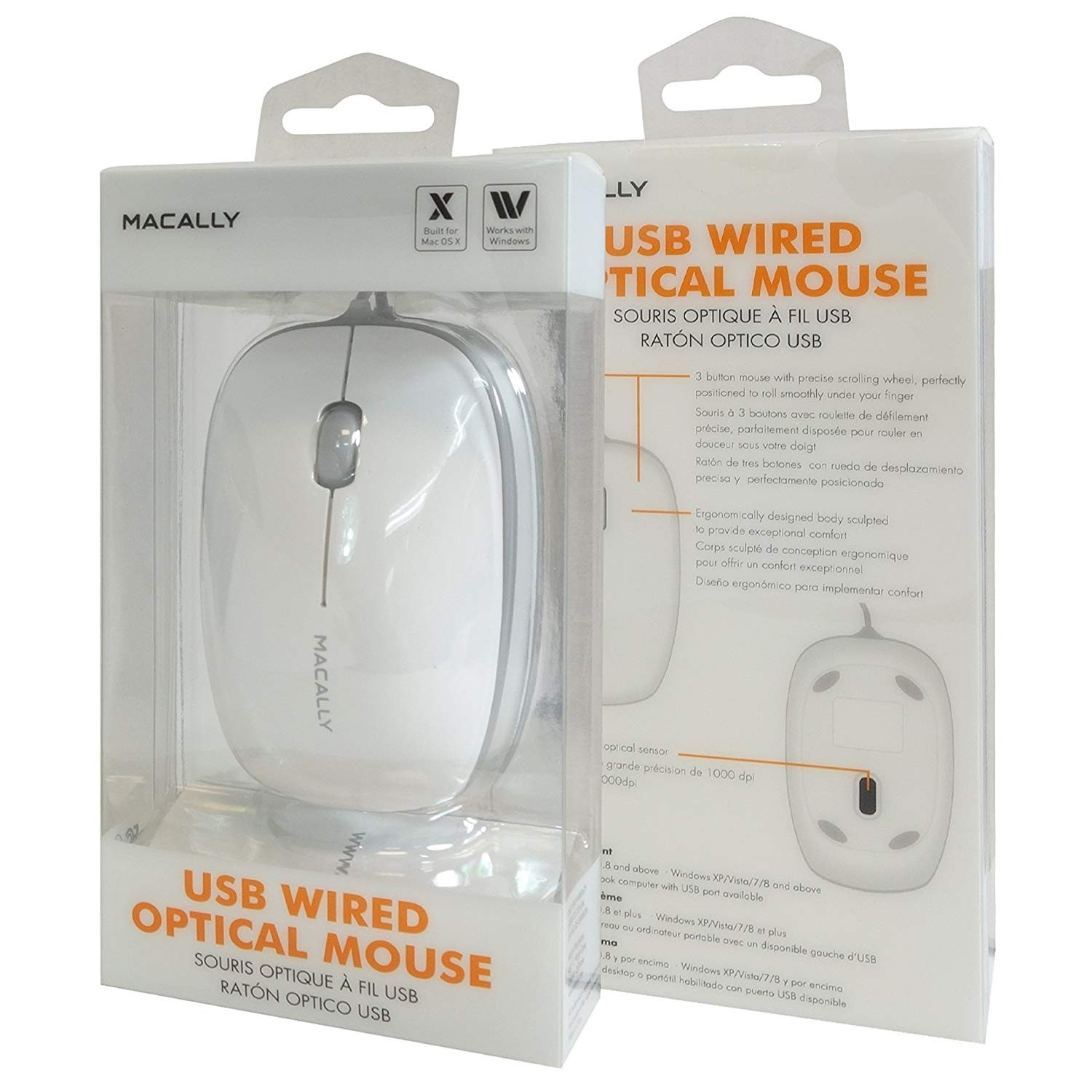 Macally Bumper Mouse 3 Button USB 800DPI Optical Computer Wired Mouse with 4 Foot Cord for Apple Mac and Windows PC Laptop - White, BUMPERMOUSE
