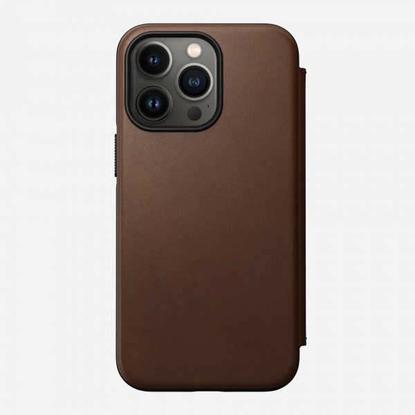 Nomad Modern Leather Folio Case For iPhone 13 Pro - Rustic Brown, NM01074885