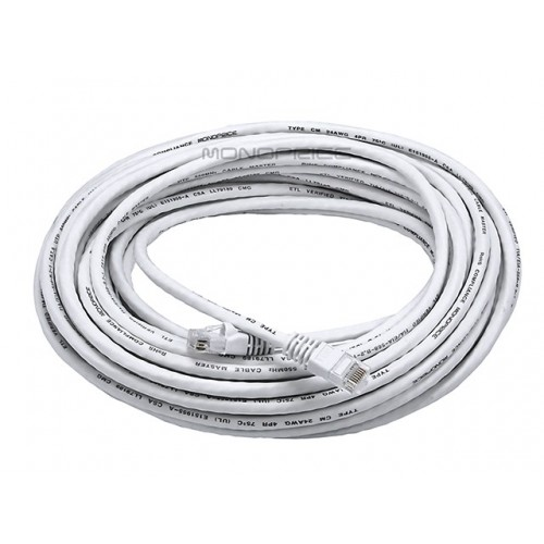 15m 24AWG Cat6 550MHz UTP Ethernet Bare Copper Network Cable - White