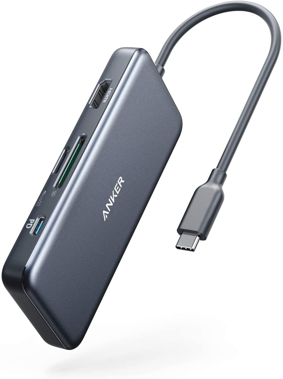 Anker PowerExpand+ 7-in-1 USB C Hub Adapter, with 4K HDMI, 100W Power Delivery, USB-C and 2 USB-A 5Gbps Data Ports, microSD and SD Card Reader, A8346