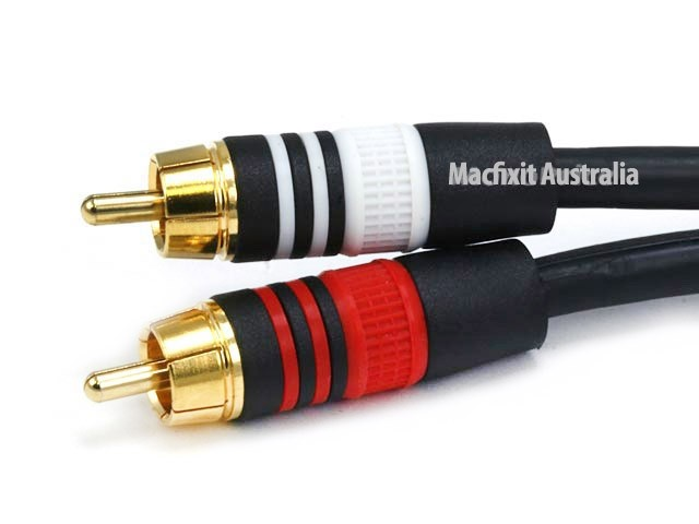 6ft Premium 3.5mm Stereo Male to 2RCA Male 22AWG Cable (Gold Plated) - Black