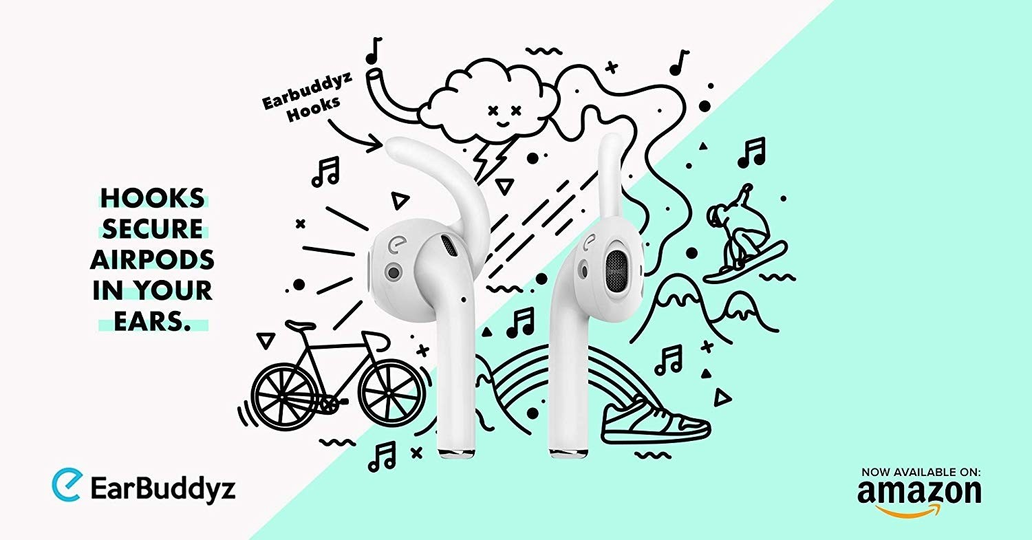 EarBuddyz 2.0 Ear Hooks and Covers Accessories Compatible with Apple AirPods 1 & AirPods 2 or EarPods Headphones/Earphones/Earbuds (3 Pairs) (Clear), B019BREFE4