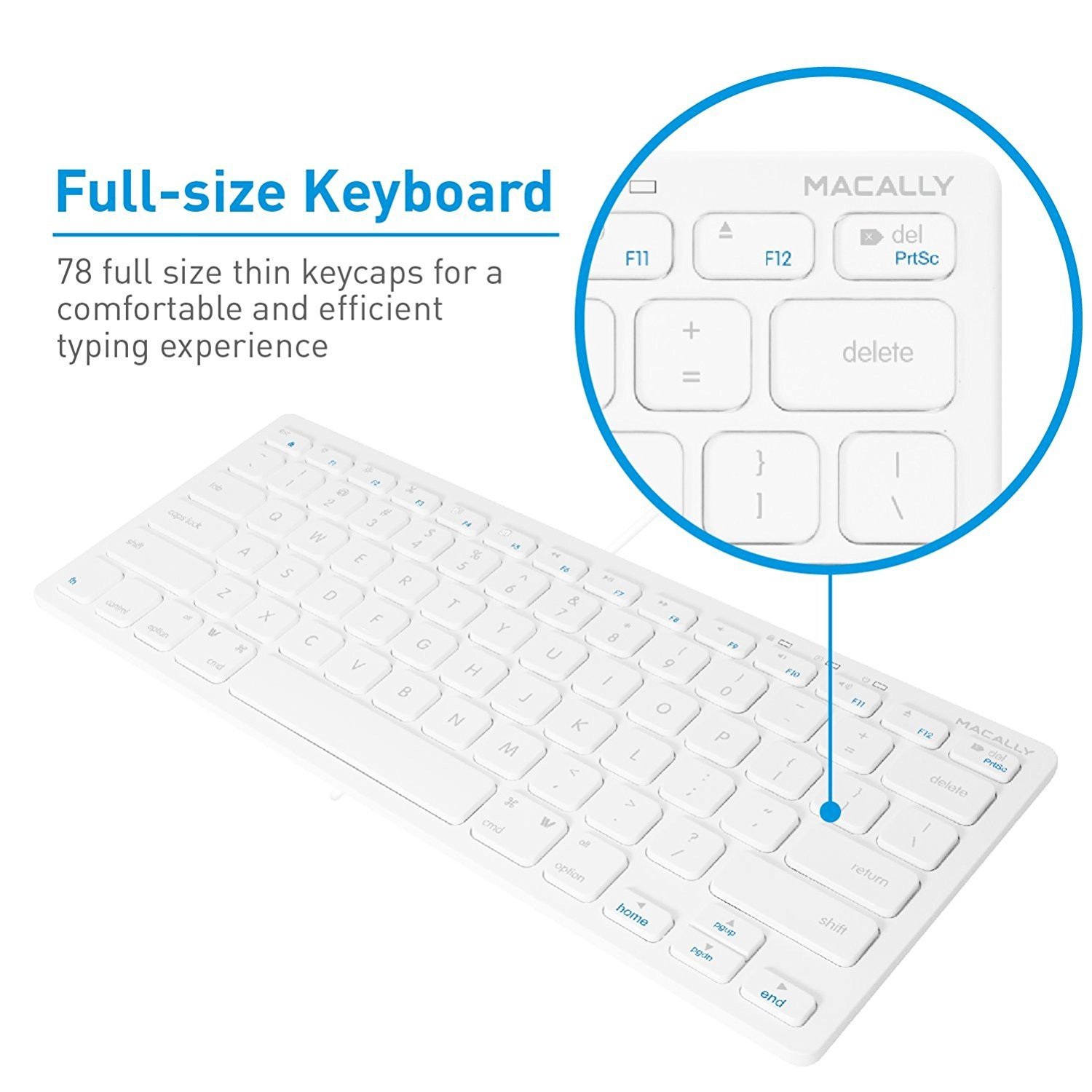 Macally Compact USB Wired Keyboard for Mac and PC - White, SLIMKEYC