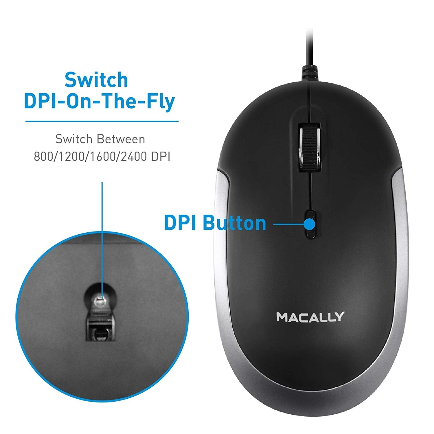 Macally Silent USB Type C Mouse Wired for Apple Mac, Slim & Compact Mice Design & Optical Sensor & DPI Switch 800/1200/1600/2400, Small for Easy Travel - Black, UCDYNAMOUSESG