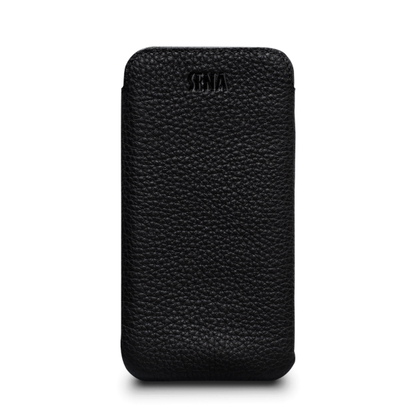 Sena Ultraslim Classic Leather Sleeve Pouch for iPhone XR - Black, SFD392NPUS