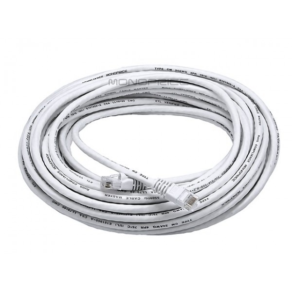 15m 24AWG Cat6 550MHz UTP Ethernet Bare Copper Network Cable - White, ETH-2217