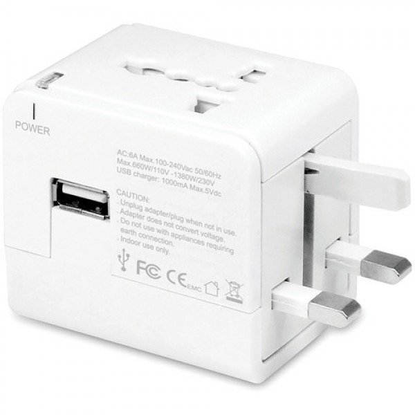 Macally Universal Power Plug Adapter with USB Charger - White, MALPPTCII