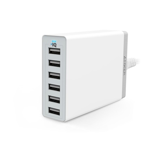 Anker PowerPort 6 60W 6-Port Family-Sized Desktop USB Charger with PowerIQ Technology for iPhone, iPad, Samsung, Nexus, HTC, Nokia, Motorola - White A2123T21