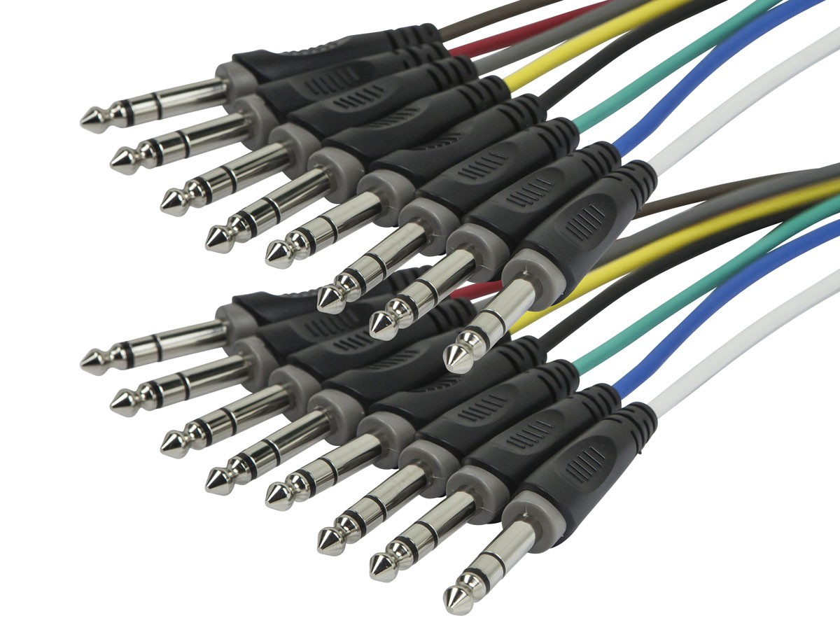 1 Meter (3ft) 8-Channel 1/4inch TRS Male to 1/4inch TRS Male Snake Cable, 601191