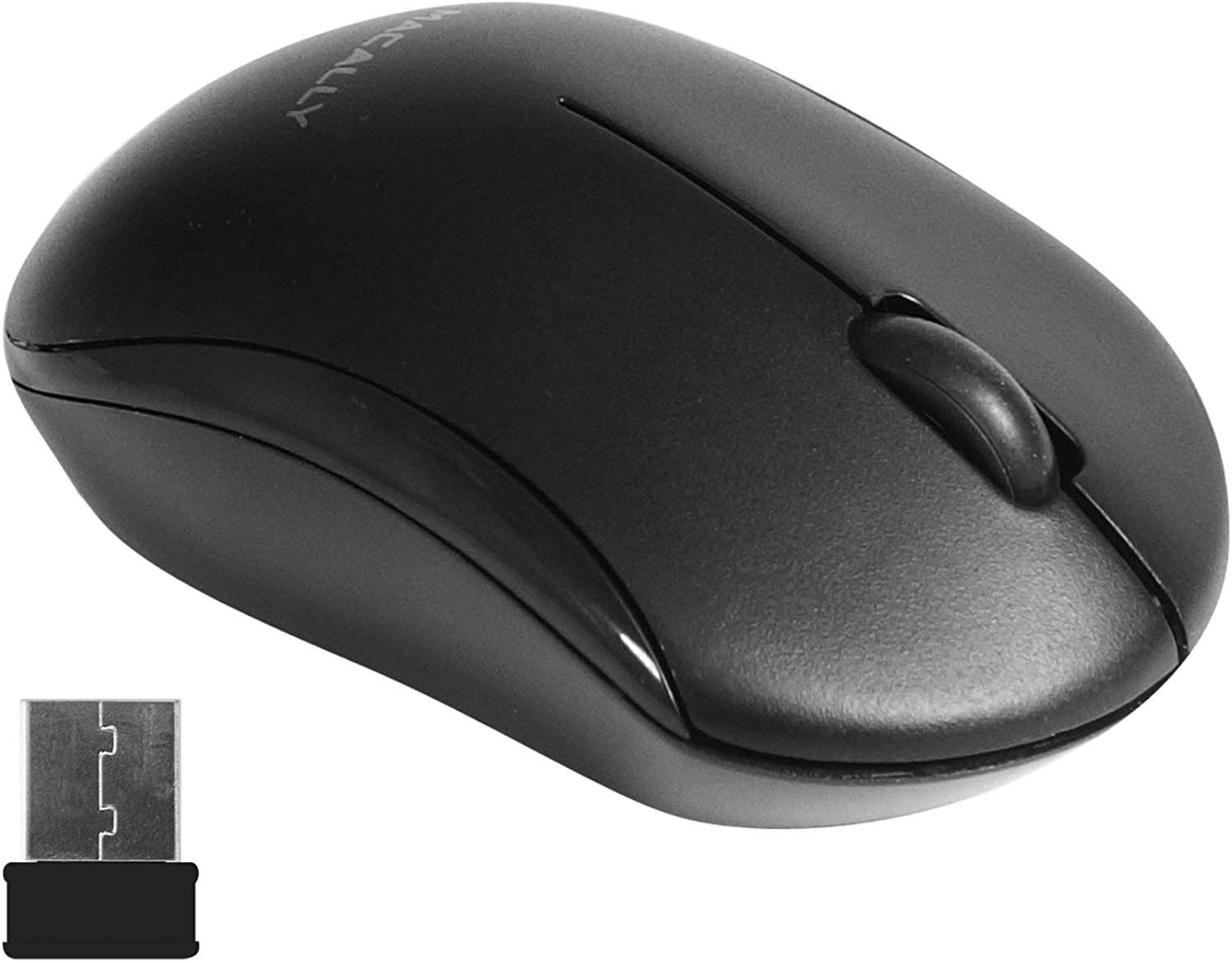 Macally 2.4G Wireless Mouse with 3 Button, Smooth Scroll Wheel, Dongle Receiver, Compatible with Desktop Computer Windows PC, Apple MacBook Pro/Air, iMac, Mac Mini, Laptops - Black, RFQMOUSEB