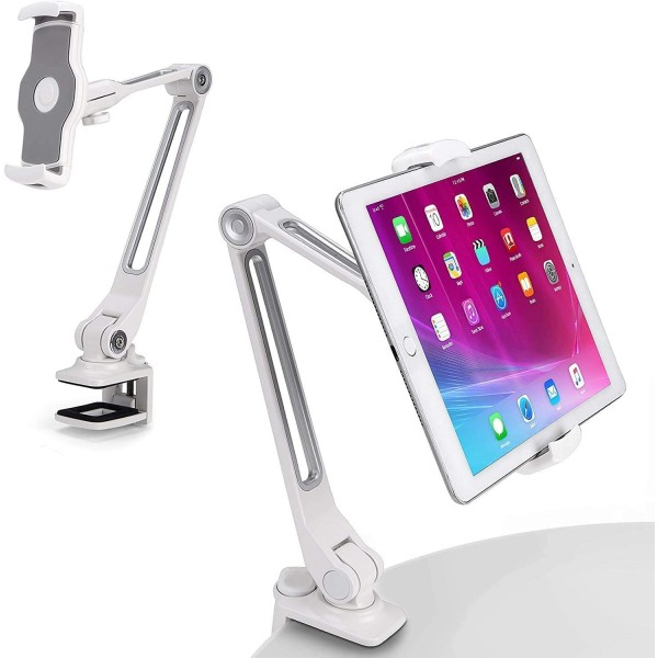 AboveTEK Sturdy iPad Holder, Aluminum Long Arm iPad Tablet Mount, 360° Swivel Tablet Stand & Phone Holder with Bracket , TS-398W